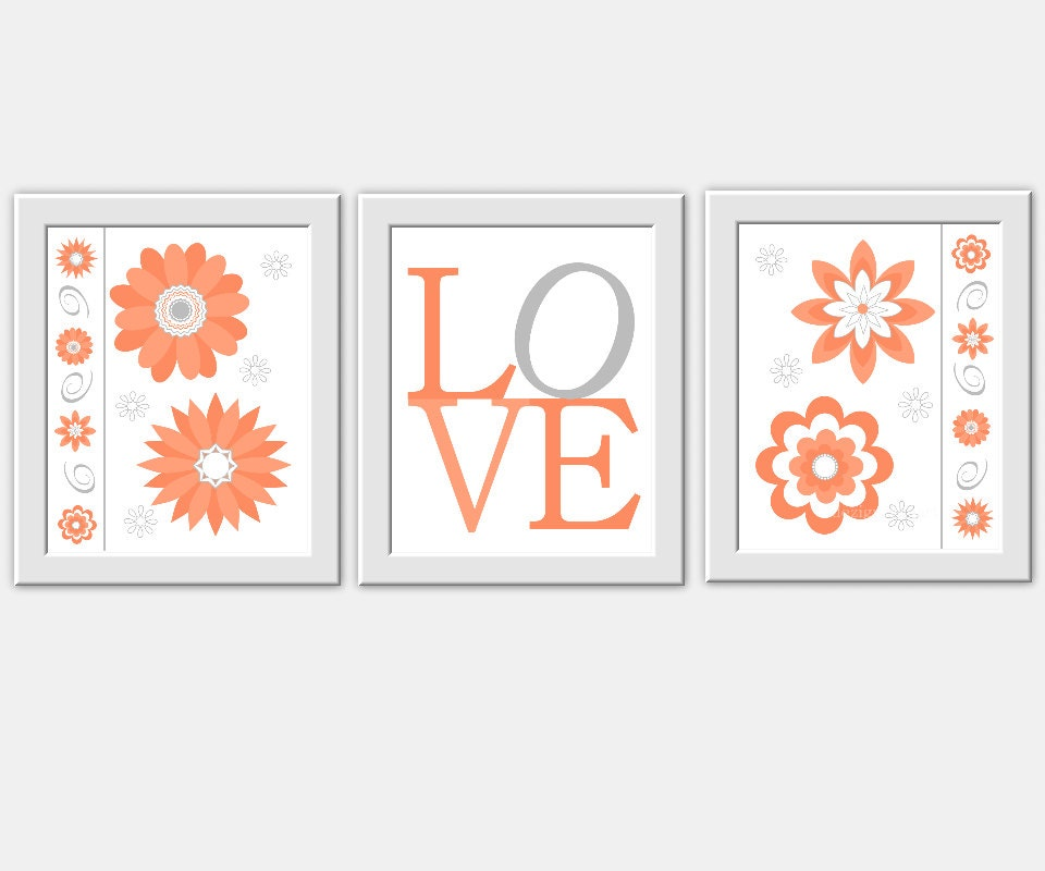 Coral Nursery Wall Decor : Coral gray baby nursery wall art love by dezignerheartdesigns