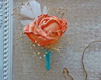 Sola Coral Boutonniere Mint and coral wedding buttonhole Balsa wood flower Groom lapel pin Groomsmen Lady corsage