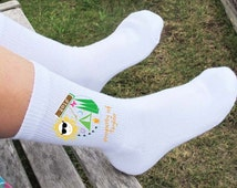 Summer Camp Socks Personalized Children's size small - Set of 3 cotton crew socks or 3 pairs of no show socks - Socks for Kids - White