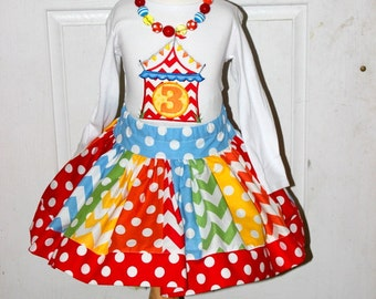 Circus Birthday outfit  circus skirt set red orange blue green primary colors chevron and polka dot  skirt polka dot skirt  circus outfit