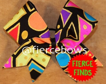 Gold and Neon Abstract Cheer Bow