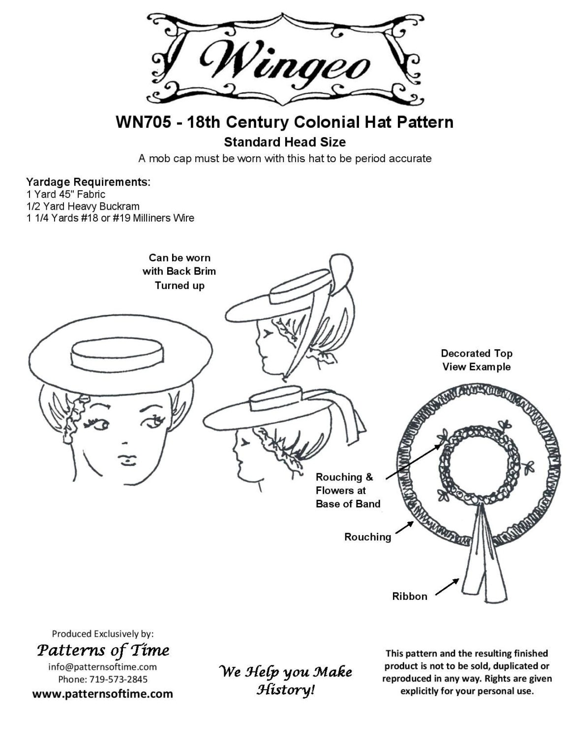 Wn705 18th century colonial hat sewing pattern by wingeo for Colonial hat template