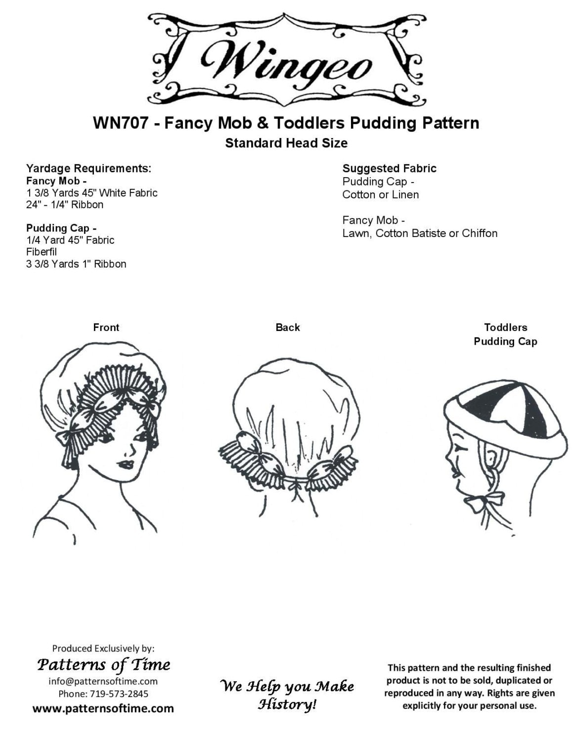 Wn707 colonial or regency era fancy mob cap pudding cap for Colonial hat template