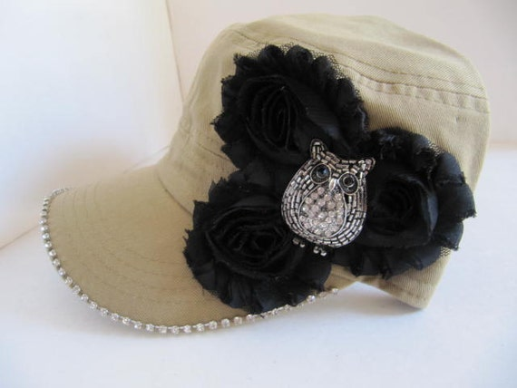 cadet hat khaki hat womans hat owl brooch womens cadet
