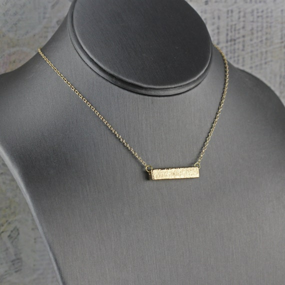 Gold bar necklace minimalist style jewelry by for Minimal art jewelry