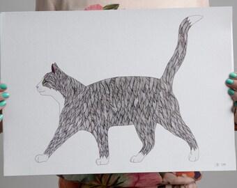 Cat Art Print- Pen and Ink Art- Hand drawn- Black Cat Print - Cat Drawing - Cat Illustration - Cat Print - Black Cat Wall Art