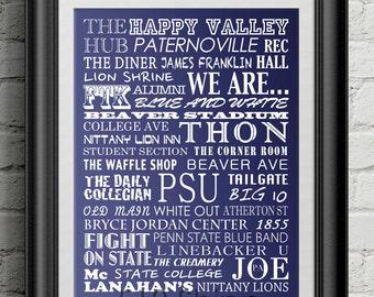 Penn State University Nittany Lions Subway Scroll Art Print Wall Decor Joe Paterno Typography Inspirational Poster Motivational