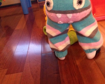 Adorable Knit Monster Pants! Turquise and pink and grey