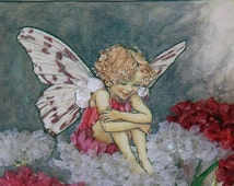 Candy Tuft Fairy.  Silk Embroidery Wall Hanging.  Childrens Bedroom Fairy Art.  Silk  Embroidered Art.  Embroidery.  Silk Embroidery.