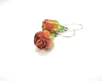 Tiny Rose Earrings Ceramic Rose Dangle Pink Rose Earrings Ceramic Flower Gift Mother Rosebud Earring Pink Flower Painted Jewelry Flower Mom