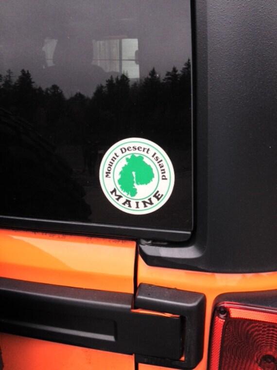 Sticker Mount Desert Island Maine Round By Designsofacadia