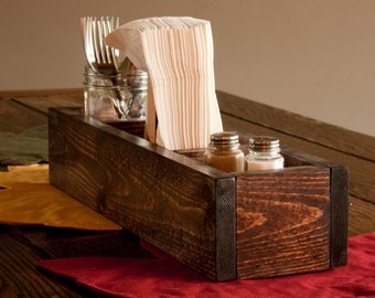 Rustic Wooden Table Caddy/Centerpiece
