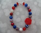 Patriotic necklace, red bows with red, white and blue chunky beads, ready to ship! (Style 262)