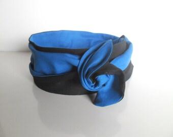 Headband stiff woman black and blue