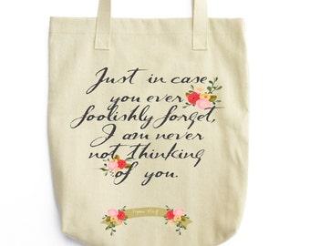 Virginia Woolf Literary Tote - Floral Print Book Bag