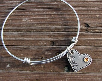 Silver Adjustable Bangle Bracelet- Birthstone Bracelet- Stainless Steel- Custom- Personalized- Stamped- Charm Bracelet- Mothers Bangle