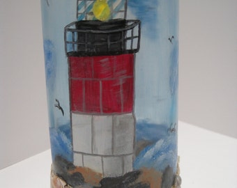 "Hand Painted 13 1/2"" Lighthouse Decorative Glass Bottle"