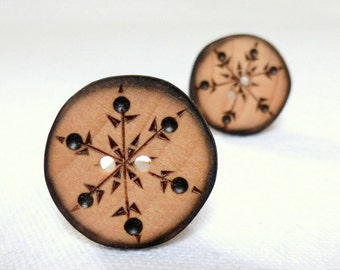 Wood Buttons, Snowflake Buttons, 1 Inch Wooden Buttons, Handmade Buttons  2 pce