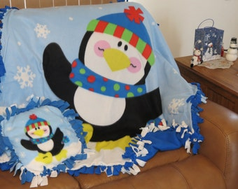 Handmade Two Sided Penquin Blanket and Pillow Set