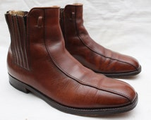"""Rare 70's Vintage """"IMPERIAL"""" Distressed Brown Leather Chelsea Dress Boots Sz: 8 (Men's Exclusive)"""