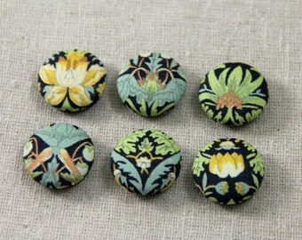 Set of 6 Magnets with Liberty of London fabrics- blue, green, yellow mix