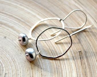 Sterling silver organic shape hoops with Pearls. June birthstone Pearl earrings, Artisan  jewelry. June birthstone gifts, back to school.