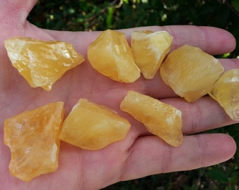 Golden (Honey) Calcite ~ 1 small Reiki infused rough stone