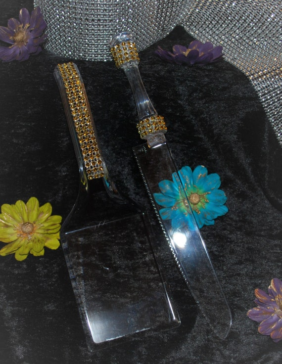 bling wedding cake cutting set gold bling cake cutter and server set gorgeous by 11924