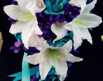 Cascade Bridal bouquet-silk flowers.purple,white,shades of aqua,teal,jade roses