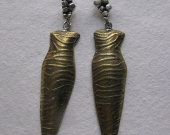 Sterling Silver and Brass One of a Kind Earrings