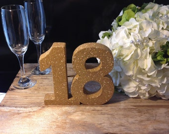 Gold glitter 18th birthday number Birthday girl party decoration Glitter freestanding table number Luxury party decoration. Princess party