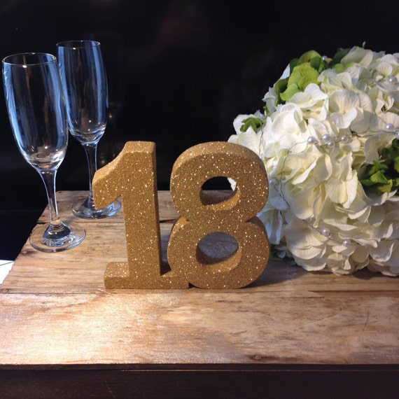 Gold Glitter 18th Birthday Number Birthday Girl Party