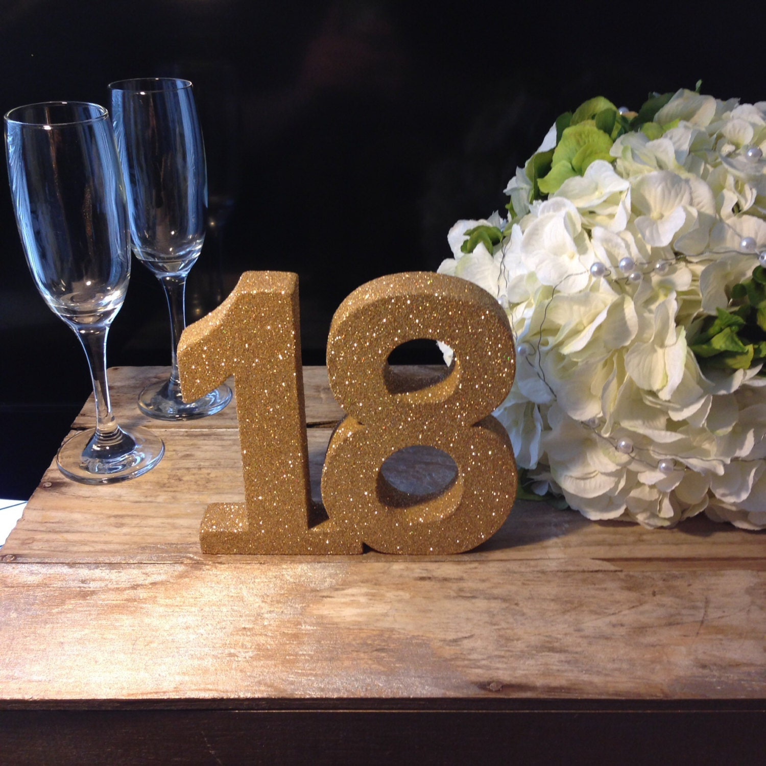 Gold Glitter Th Birthday Number Birthday Girl Party - Table decoration ideas for 18th birthday