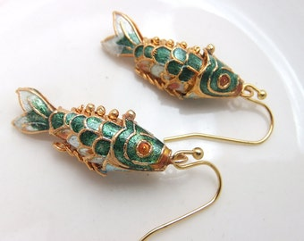 Bluegrass Green Koi Fish Earrings Gold Plated Ear Ring