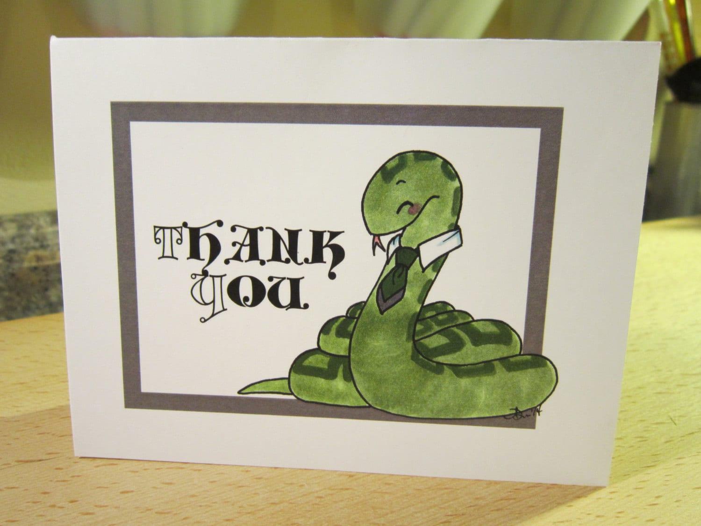 Thank You House: Hogwarts House Thank You Cards Slytherin Single Layer Set