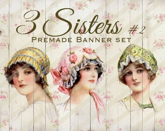 """Banner Set - Shop banner set - Premade Banner Set - Graphic Banners - Facebook Cover - Avatars - Bisiness Card - """"3 Sisters #2"""""""