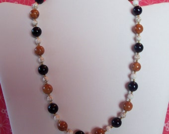 Gorgeous Riverstone Necklace Blue, Brown and White 18 inch
