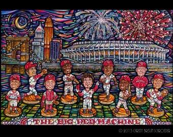 Cincinnati Reds Big Red Machine Painted Bobblehead Mosaic Print