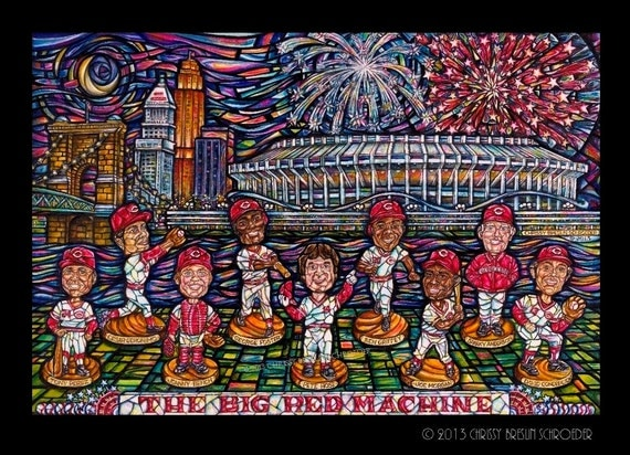 Cincinnati Reds Big Red Machine Painted Bobblehead Mosaic