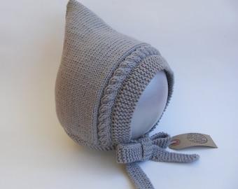 Grey Pixie Bonnet, Hand Knit Hat, Grey Hat, Sizes Newborn to Age 3 yrs, Toddler Hat, Baby Pixie Hat, Baby Bonnet, Children's Accessories