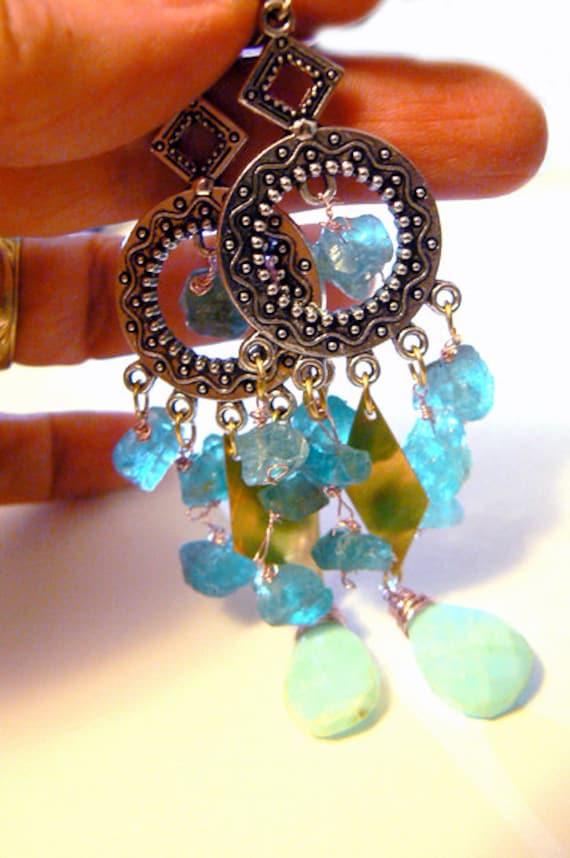 Chandelier blue apatite opal earrings-Rough stone opal earrings-Dangling blue gemstone earrings-Women boho earrings-Fashion earrings