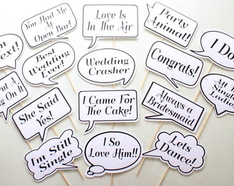 16pc * Wedding Photo Booth Speech Bubbles/Photobooth Props - CUSTOM OPTIONS AVAILABLE