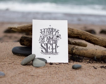 Happy by the Sea - print 8x10 handlettered beejaedee artwork
