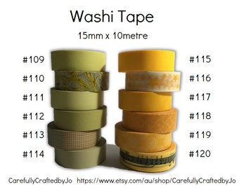 Washi Tape - Yellow Patterns - 15mm x 10 metres - High Quality Masking Tape