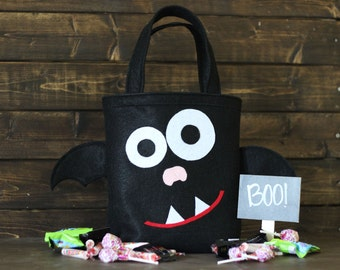 Monogrammed Bat Trick or Treat Bag