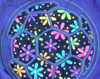 Purple Hoodie with Fun Flower fabric. Reverse applique Soccer.