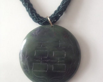 Vintage Unique Carved Stone Necklace Emerald Green Woven Cord