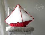 SALE -20% Nautical Pillow Big Yacht - Nautical Art, Sailor Style, maritime home decor, classic white/red. Unique gift for sailor!