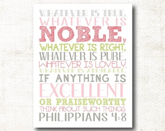 Instant Download | Think about such things art print (Philippians 4:8) C24