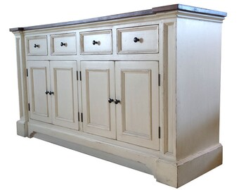 Side Board ,White Server ,Rustic White Buffet / Shabby Chic Buffet